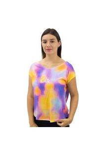 Camiseta Feminina Estampa Tie Dye Dora Bella Laranja