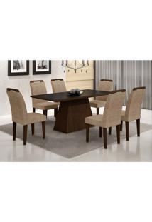Conjunto De Mesa Luna Com Vidro E 6 Cadeiras Athenas Suede Animalle Chocolate E Preto