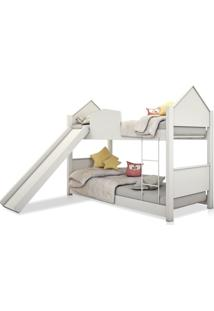 Beliche Infantil Casinha Prime Branco Neve Com Escorregador Casah - Branco - Dafiti
