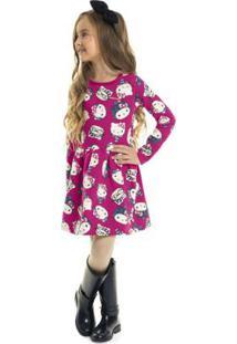 Vestido Estampado Infantil Rosa