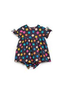 Vestido Bebê Poa Carinhas Est Poa Carinhas Preto - P