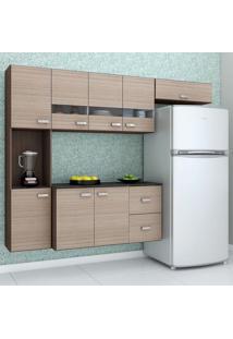 Cozinha Compacta Julia Composta Por 4 Peças Com 2 Gavetas 8 Portas Em Mdp Capucciono/Amendoa Poquema