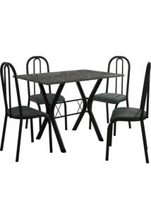 Conjunto De Mesa Miami 4 Cadeiras Preto Fosco/Petróleo Fabone Móveis Tubulares