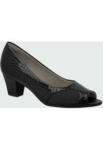 Peep Toe Feminino Textura Verniz Piccadilly 714089