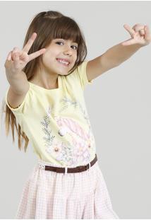 Blusa Infantil Unicórnio Com Glitter E Paetês Manga Curta Decote Redondo Amarela