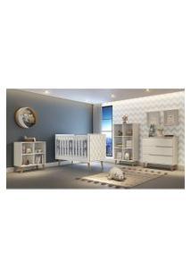 Dormitório Analu Guarda Roupa Comoda Montessoriana Comoda 3 Gavetas Berço Lorena C/ Capitone Branco/Madeira Carolina Baby