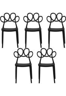Kit 05 Cadeiras Decorativas Para Cozinha Laço Preto - Gran Belo