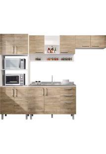 Cozinha Compacta Com 4 Peças Floripa 16-Politorno - Branco / Carvalho Claro