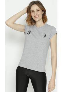 """Camiseta """" Polo 3""""- Cinza & Pretaclub Polo Collection"""