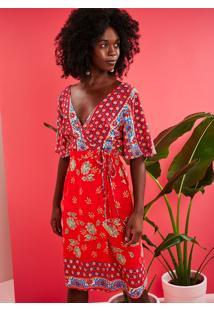 Vestido Silk Antique Transpassado Midi Vermelho