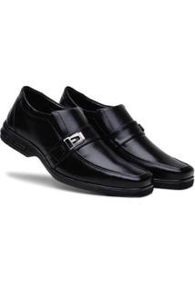 Sapato Social Masculino Metal Elástico Macio Confortável - Masculino-Preto