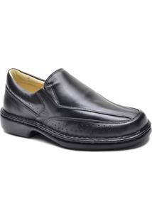 Sapato Social Couro Masculino Bico Redondo Leve Conforto - Masculino-Preto