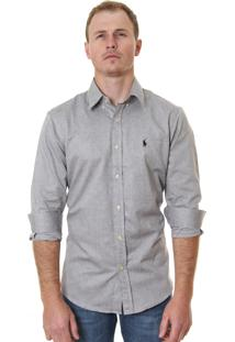 Camisa Ralph Lauren Masculina Custom Fit Oxford Cinza