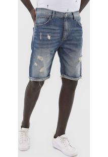 Bermuda Jeans John John Reta Destroyed Azul