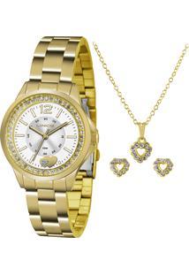Kit De Relógio Analógico Lince Feminino + Brinco + Colar - Lrg4518L Ku40S2Kx Dourado