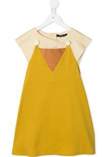 Owa Yurika Vestido Color Block - Amarelo