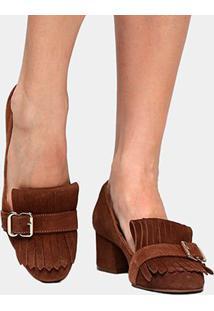 Scarpin Couro Shoestock Salto Médio Franja - Feminino-Caramelo