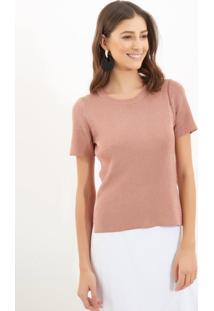 Camiseta Le Lis Blanc Luana Lurex Tricot Rosa Feminina (Rosê, Gg)