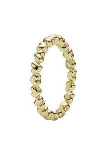 Anel Corações- Dourado- Tamanho 56 = 16- Pandorapandora