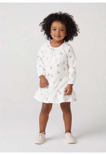 Vestido Infantil Menina Com Estampa Toddler Off-Wh