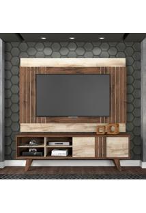 Rack Com Painel Para Tv Até 50 Polegadas Paraty Café E Marrom Claro 180 Cm
