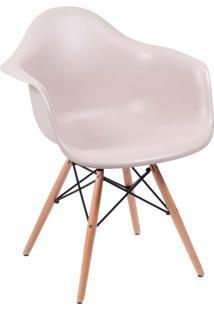 Cadeira Eames Eiffel Com Braço Fendi Base Madeira