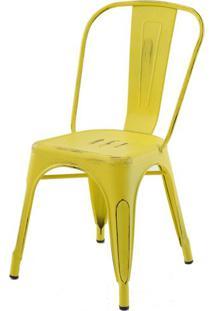 Cadeira Iron Tolix Sem Braco Vintage Amarela - 28343 Sun House