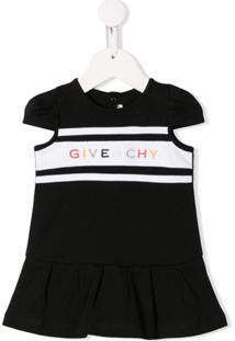 Givenchy Kids Vestido Com Logo Bordado - Preto