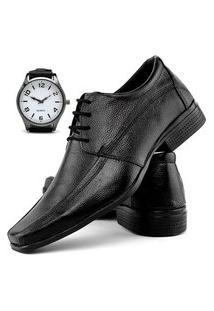 Sapato Social Fashion Com Relógio New Dubuy 902El Preto