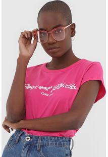 Camiseta Coca-Cola Jeans Lettering Rosa - Kanui