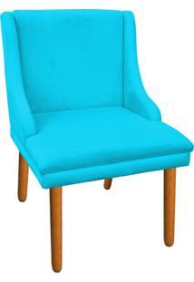 Cadeira Poltrona Decorativa Liz Suede Azul Tiffany - D'Rossi