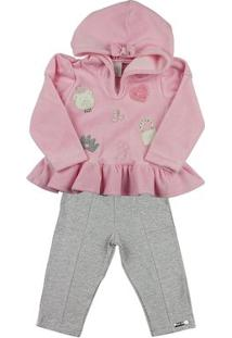 Conjunto Bebê Plush E Cotton Ursinha E Bolsa Ano Zero - Feminino-Rosa+Cinza