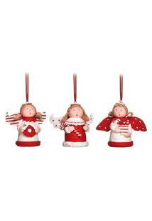 Enfeite Árvore Natal Anjos Vermelho E Branco 8Cm 1 Unidade