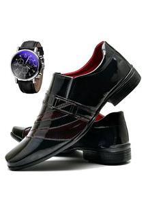 Sapato Social Masculino Com Verniz Db Now Com Relógio Dubuy 632Od Vermelho