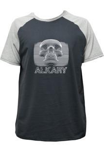 Camiseta Alkary Raglan Manga Curta Caveira 3D Chumbo E Mescla