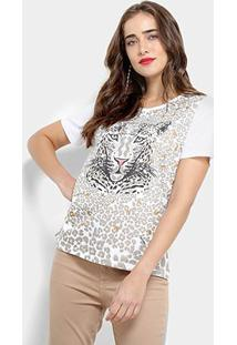 Camiseta Carmim Animal Print Estampa Onça Feminina - Feminino-Branco