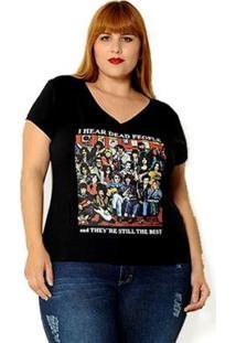 Camiseta Vintage And Cats Plus Size I Hear Dead People Feminina - Feminino-Preto
