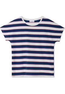 Camiseta Lacoste Feminina - Feminino-Branco+Azul