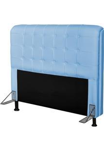 Cabeceira Para Cama Box Casal 140 Cm Califórnia Corino Azul Bebê - Js Móveis