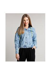 Jaqueta Jeans Feminina Com Capuz Removível Em Moletom Azul Claro
