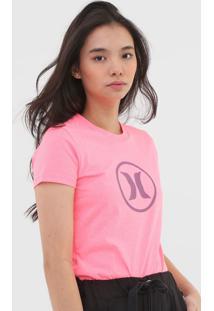 Camiseta Hurley Icon Circle Neon Rosa