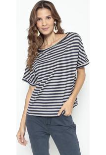 Camiseta Listrada - Cinza & Azul Marinho - Lanã§A Perlanã§A Perfume