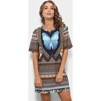 1ee1ad2e4 Vestido Farm T-Shirt Segredo - Feminino-Azul+Caramelo