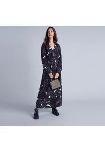Vestido Longo Com Cinto Estampa Square - Lez A Lez