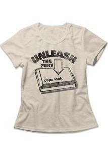 Camiseta Caps Lock Feminina - Feminino-Mescla