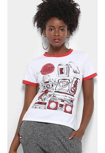 Camiseta Coca-Cola Estampada Feminina - Feminino-Branco