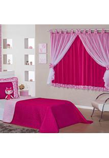 Kit Cobre Leito C/ Cortina Doll Gatinha Pink/Rosa Dupla Face C/ Boneca Solteiro 05 Peças.