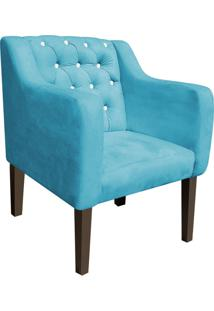 Poltrona Decorativa Lisa Suede Azul Tiffany Com Strass - D'Rossi