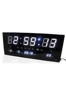 c8acd2b4f3c Relogio De Parede Led Branco Digital Alarme Data Termo (Rel-57)