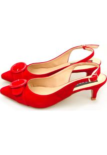 c95c0e40dc Scarpin Salto Baixo Love Shoes Bico Fino Chanel Fivela Vermelho